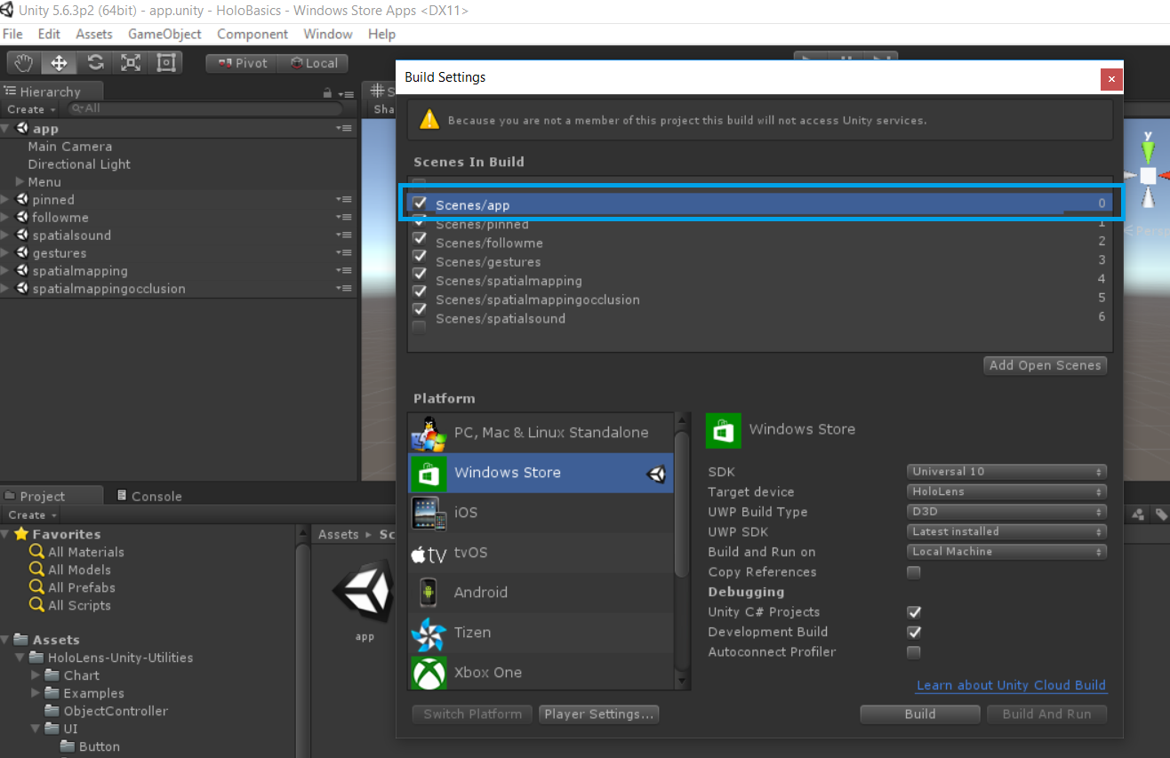 Set the active scene of a HoloLens project in Unity | AppzInside
